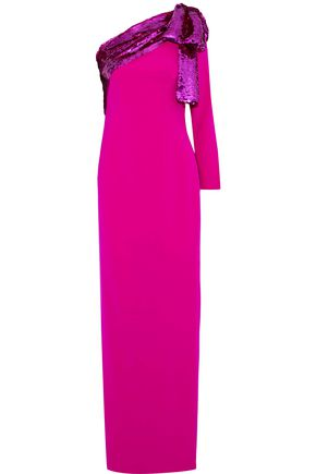 SACHIN & BABI Rina one-shoulder sequin-embellished crepe gown