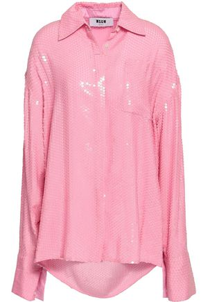 MSGM Oversized sequined woven shirt