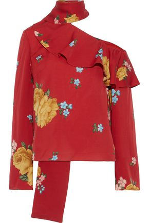 MAGDA BUTRYM Hanoi cold-shoulder ruffled floral-print silk-crepe blouse
