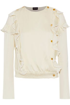 MAGDA BUTRYM Tirana ruffled silk-charmeuse blouse