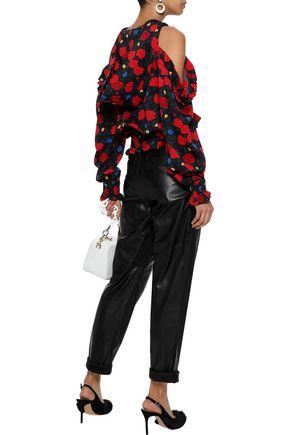 MAGDA BUTRYM Cold-shoulder floral-print silk crepe de chine hooded top