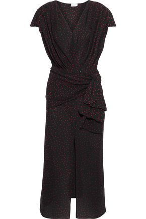 MAGDA BUTRYM Diablo tie-front polka-dot silk crepe de chine midi dress