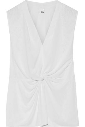 IRIS & INK Julianna twist-front stretch-knit top