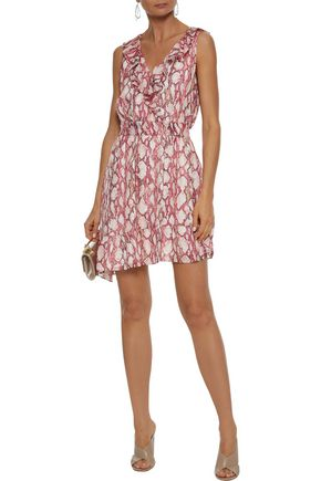 RACHEL ZOE Lyle asymmetric snake-print silk crepe de chine mini dress