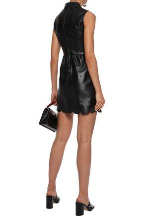 RED(V) Scalloped leather mini dress