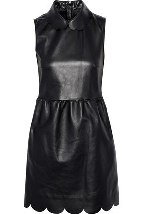 REDValentino Scalloped leather mini dress