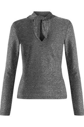 W118 by WALTER BAKER Yanira tie-front metallic stretch-knit top