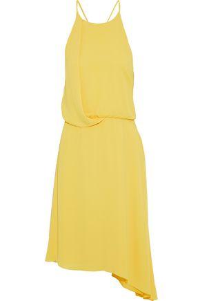 HALSTON HERITAGE Asymmetric chiffon-trimmed crepe de chine dress