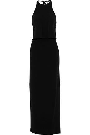 HALSTON HERITAGE Layered washed-crepe gown