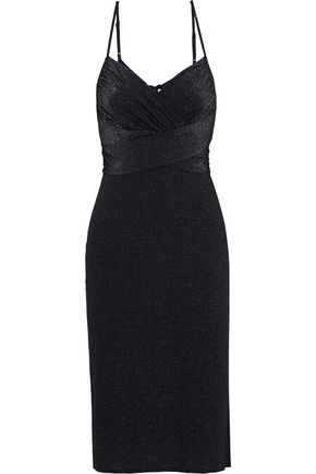 HALSTON HERITAGE Ruched metallic stretch-knit dress