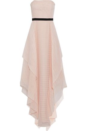 HALSTON HERITAGE Strapless layered embroidered organza gown