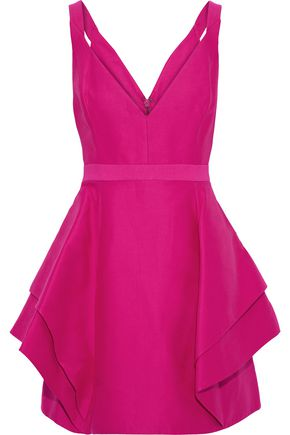 HALSTON HERITAGE Layered cotton and silk-blend mini dress