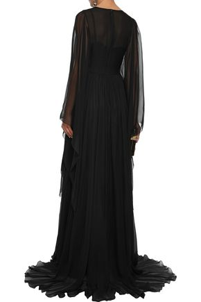DOLCE & GABBANA Embellished lace-paneled silk-blend chiffon gown