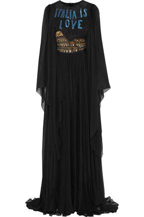 DOLCE & GABBANA Embellished lace-paneled silk-blend chiffon gown