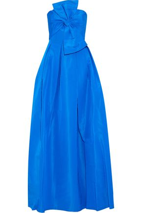 SACHIN & BABI Leora strapless bow-embellished silk-faille gown