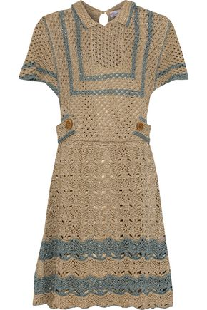 REDValentino Metallic crocheted cotton mini dress