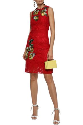 DOLCE & GABBANA Sequin-embellished corded lace dress