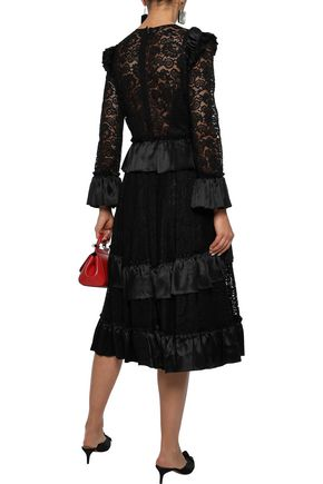 DOLCE & GABBANA Bow-embellished ruffled satin-trimmed corded lace dress
