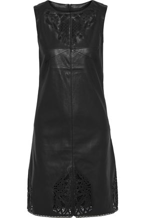 TART COLLECTIONS Vela broderie anglaise faux leather mini dress