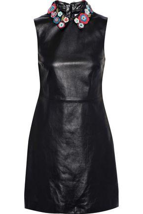 REDValentino Floral-appliquéd leather mini dress