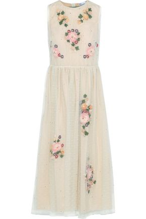 REDValentino Layered embellished point d'esprit dress