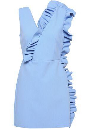 MSGM Wrap-effect ruffle-trimmed crepe mini dress