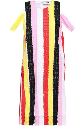 MSGM Paneled striped broderie anglaise cotton dress