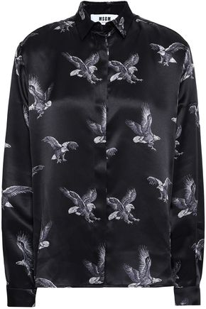 MSGM Printed silk satin shirt
