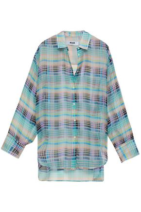 MSGM Checked silk-voile shirt