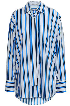 MSGM Striped cotton-poplin shirt