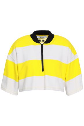 MSGM STriped cotton-piqué top