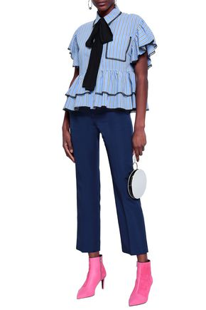 MSGM Lace-trimmed tiered striped poplin shirt