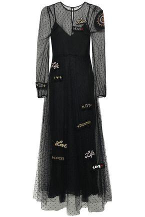 REDValentino Appliquéd point d'esprit maxi dress