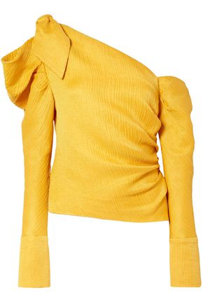 HELLESSY One-shoulder knotted linen and silk-blend top
