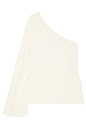 THEORY One-shoulder satin-crepe top