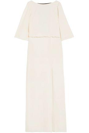 HALSTON HERITAGE Split-front cady maxi dress