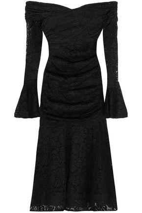 CAROLINE CONSTAS Off-the-shoulder ruched lace midi dress