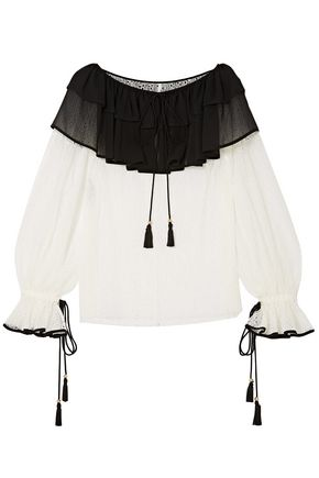 PHILOSOPHY di LORENZO SERAFINI Crepe de chine-paneled corded lace blouse
