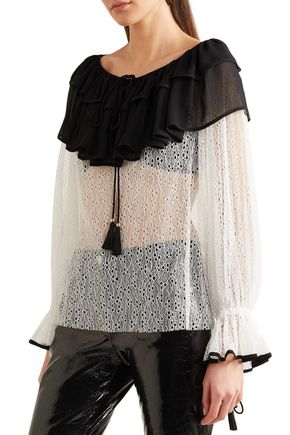 PHILOSOPHY di LORENZO SERAFINI Crepe de chine-paneled corded lace blouse