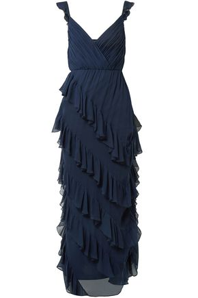 ALICE + OLIVIA Ruffled silk-georgette maxi dress