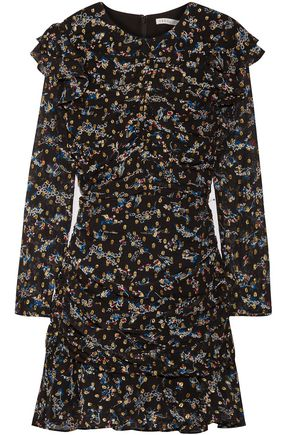 VERONICA BEARD Parc ruched floral-print fil coupé silk-blend mini dress