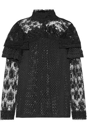 ANNA SUI Lace-paneled jacquard top