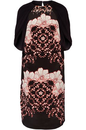 BIYAN Lasla embellished printed silk-satin and crepe de chine dress