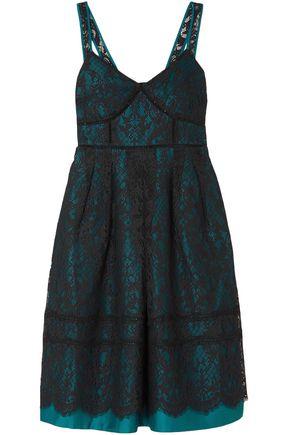 DRAPER JAMES Pleated cotton-blend lace dress