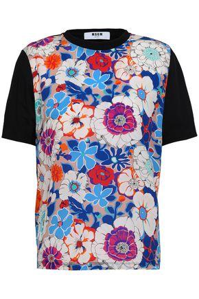 MSGM Paneled cotton crepe de chine and jersey T-shirt
