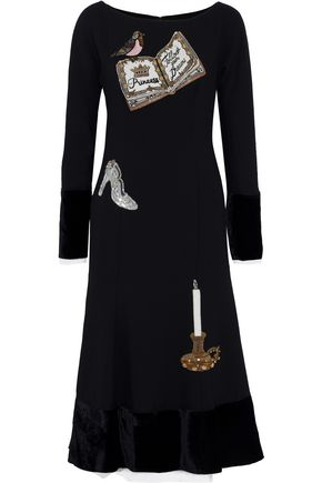 DOLCE & GABBANA Velvet-paneled appliquéd wool-blend midi dress