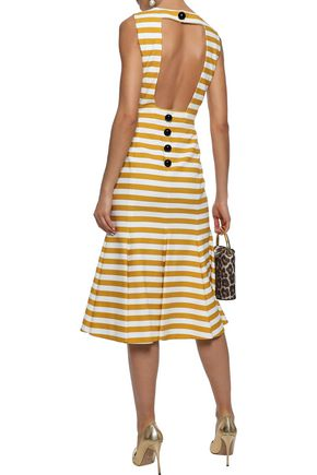 DOLCE & GABBANA Open-back striped cotton-blend midi dress