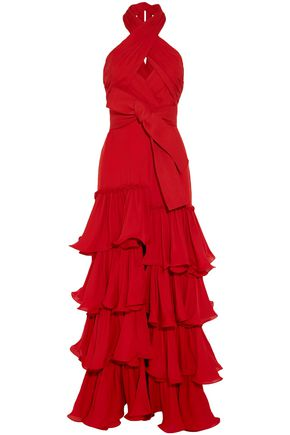 JOHANNA ORTIZ Tiered silk-crepe halterneck gown