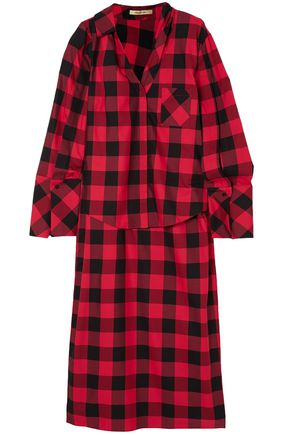 HELLESSY Checked cotton and silk-blend twill top