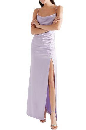 ALICE + OLIVIA Ruched satin-crepe slip dress